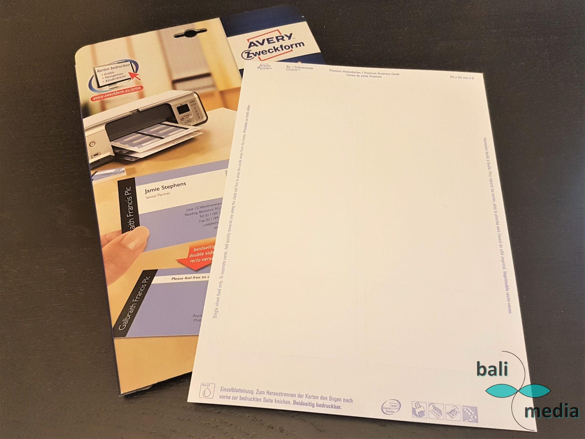 How To Visitenkarten Selbst Drucken Balimedia